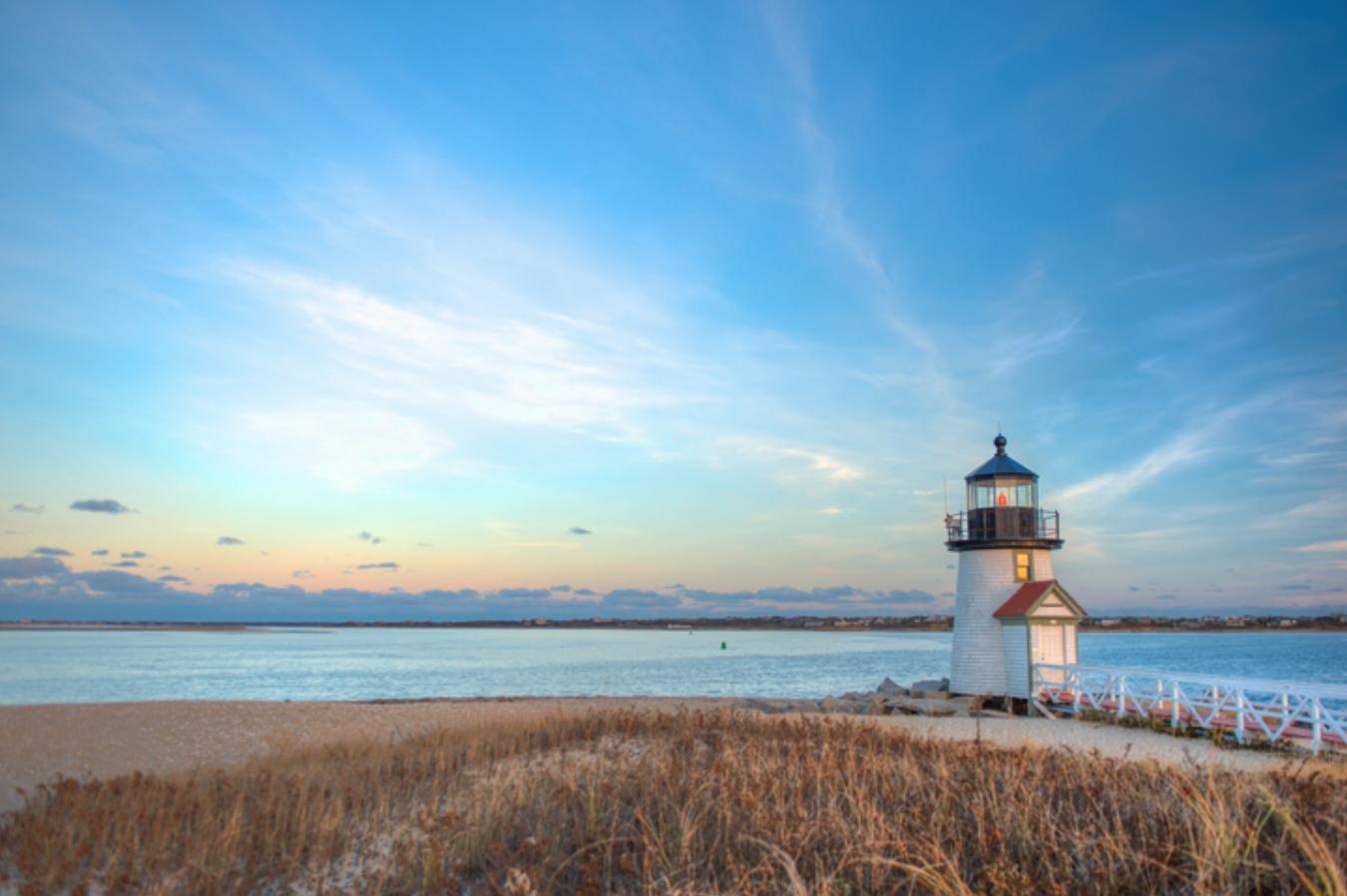 Brant Point Lighthouse during sunset in Nantucket, Massachusetts.