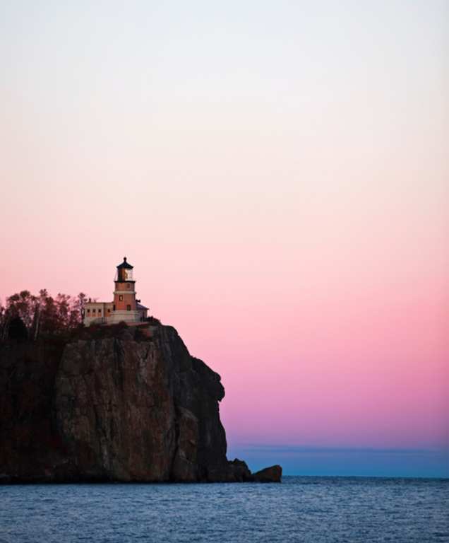 Split Rock Lighthouse during sunset on Lake Superior's North Shore.