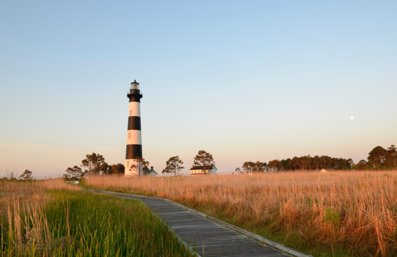 Lighthouse at sunset on a summer evening in Outer Banks, North Carolina.